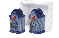 Giftbox Pfeffer und Salz Grachtenhuis blau D10x4 H10